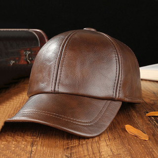 Wholesale Custom 6 Panel Black Adjustable Vintage Genuine Leather Baseball Cap