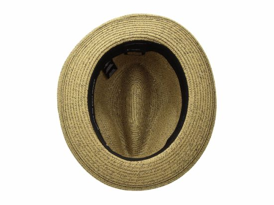Dent Crown Straw Cowboy Hat with Ribbon Striped Pattern Hatband