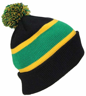 Acrylic Rugby Knit Striped Cuff Slouch Double-Layer Beanie Hat with POM POM