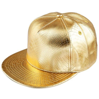 Adjustable Fashion Gold Style Unisex Punk Cap Snapback Custom with PU Leather Cotton Blend